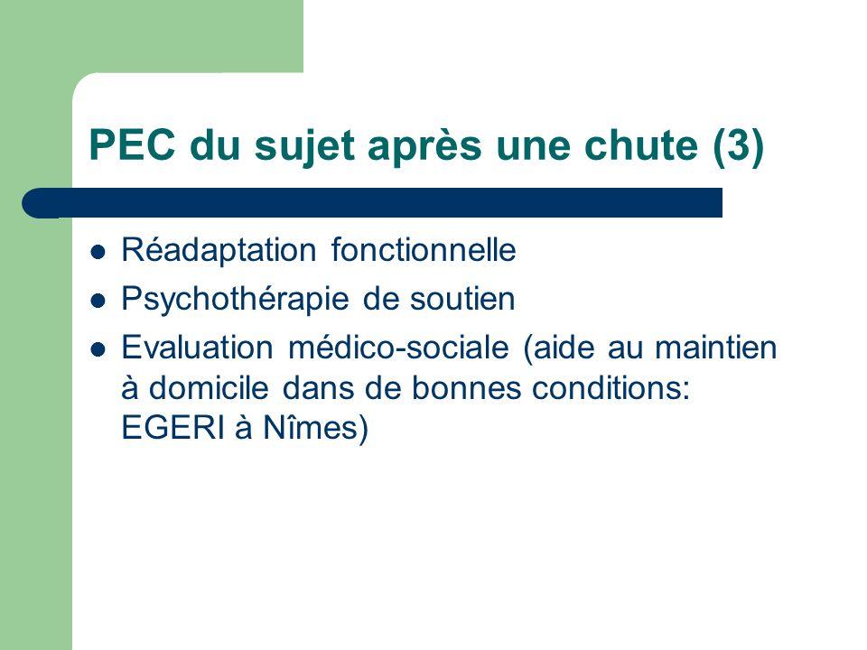PEC du sujet après une chute (3) Réadaptation fonctionnelle Psychothérapie de soutien Evaluation médico-sociale (aide au maintien à domicile dans de bonnes conditions: EGERI à Nîmes)
