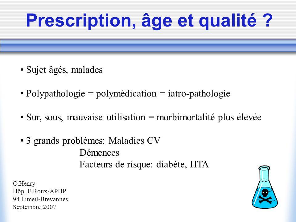 Prescription, âge et qualité ? Sujet âgés, malades Polypathologie = polymédication = iatro-pathologie Sur, sous, mauvaise utilisation = morbimortalité