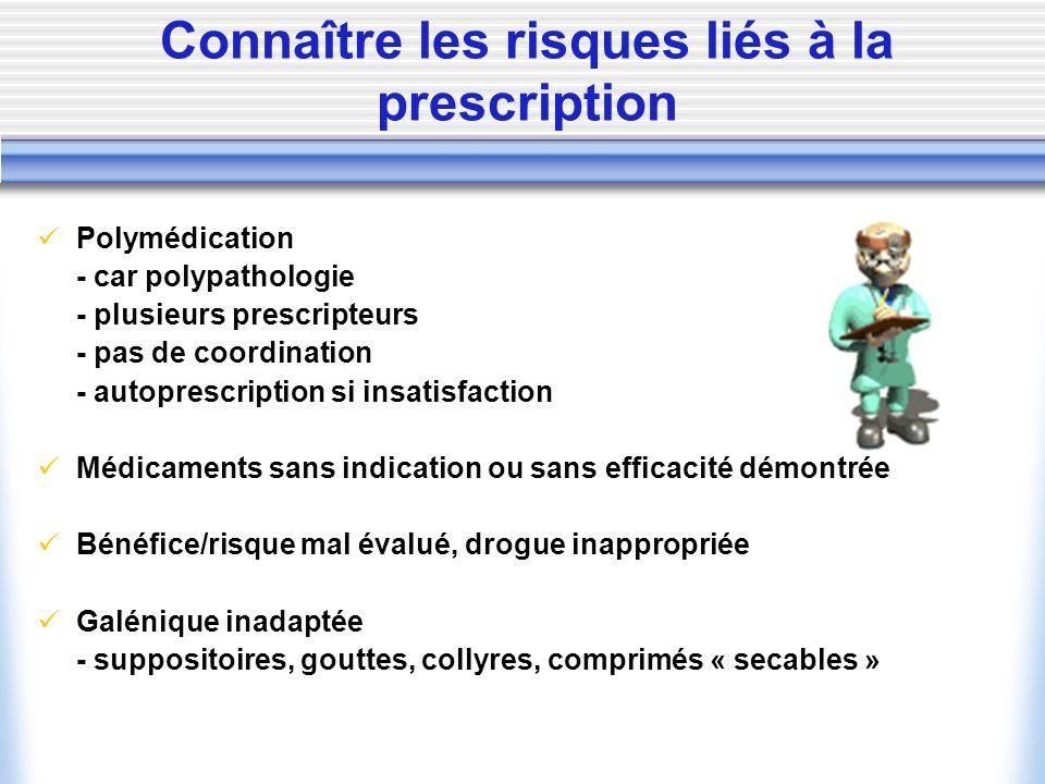 Connaître les risques liés à la prescription Polymédication - car polypathologie - plusieurs prescripteurs - pas de coordination - autoprescription si