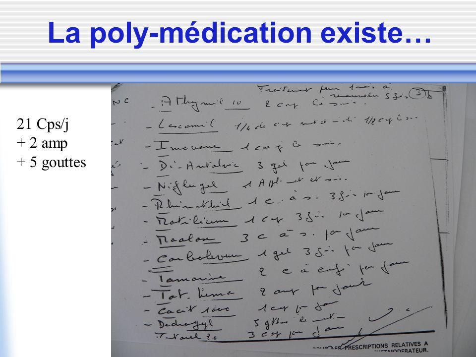 La poly-médication existe… 21 Cps/j + 2 amp + 5 gouttes