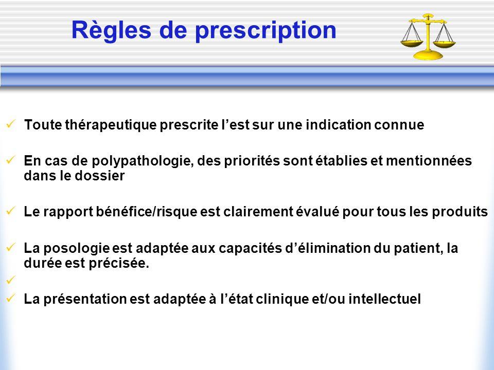 Règles de prescription Toute thérapeutique prescrite lest sur une indication connue En cas de polypathologie, des priorités sont établies et mentionné