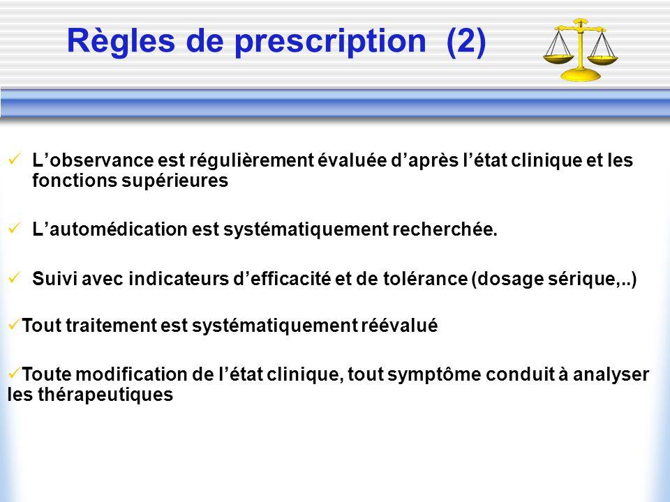 Règles de prescription (2) Lobservance est régulièrement évaluée daprès létat clinique et les fonctions supérieures Lautomédication est systématiqueme