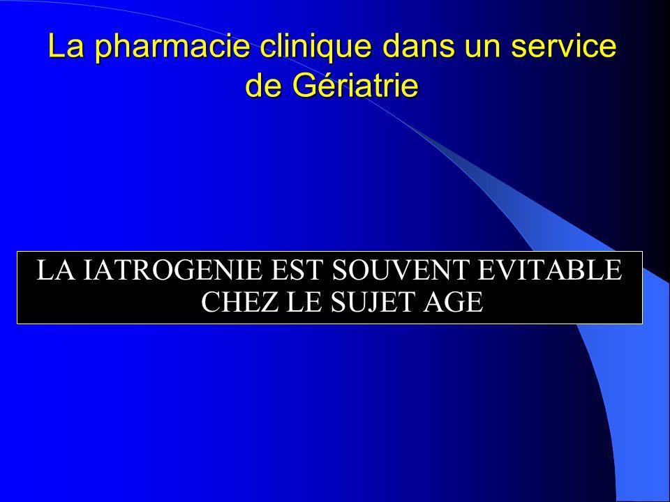 La pharmacie clinique dans un service de Gériatrie LA IATROGENIE EST SOUVENT EVITABLE CHEZ LE SUJET AGE