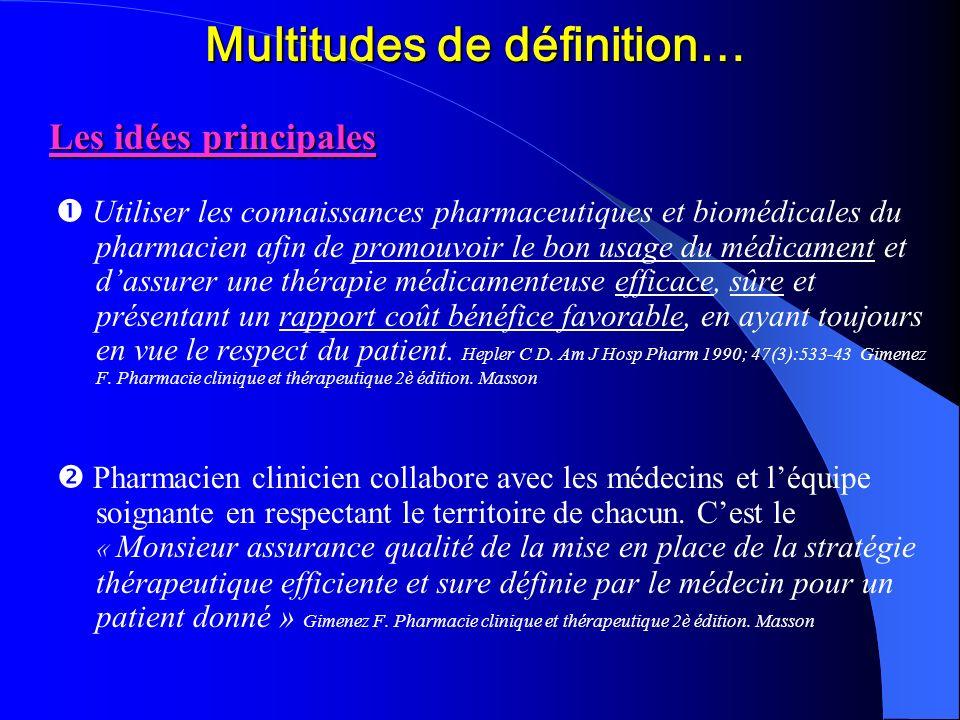 Multitudes de définition… Les idées principales Utiliser les connaissances pharmaceutiques et biomédicales du pharmacien afin de promouvoir le bon usa