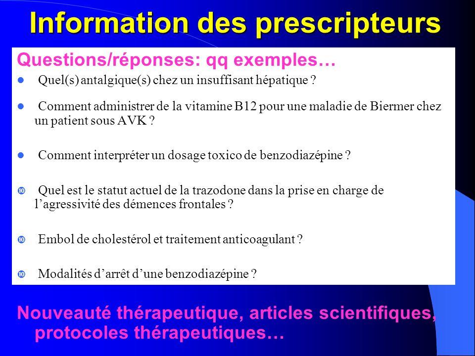 Information des prescripteurs Questions/réponses: qq exemples… Quel(s) antalgique(s) chez un insuffisant hépatique ? Comment administrer de la vitamin
