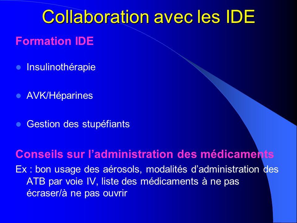 Collaboration avec les IDE Formation IDE Insulinothérapie AVK/Héparines Gestion des stupéfiants Conseils sur ladministration des médicaments Ex : bon