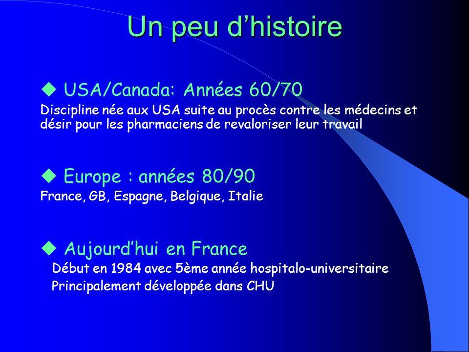 Un peu dhistoire USA/Canada: Années 60/70 Discipline née aux USA suite au procès contre les médecins et désir pour les pharmaciens de revaloriser leur