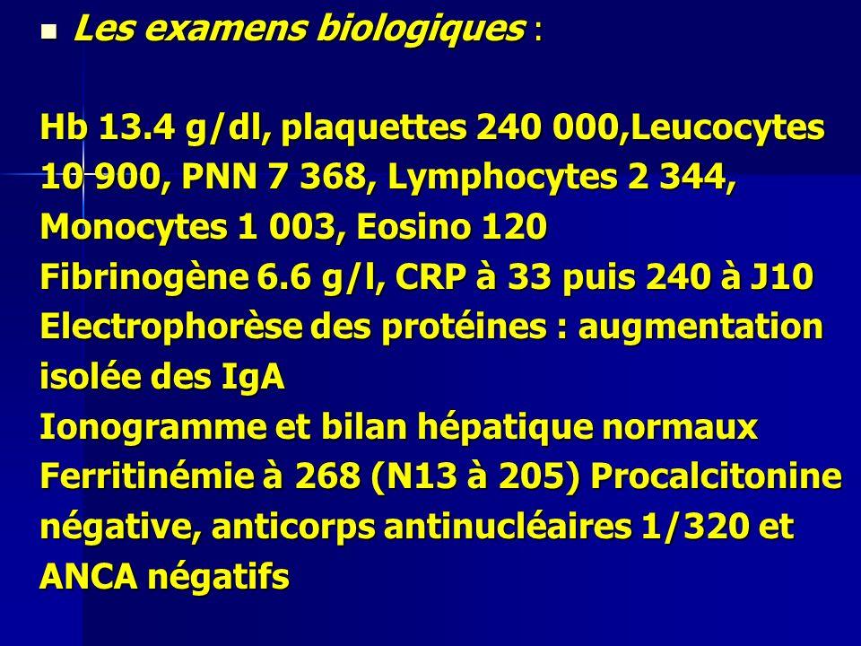 Les examens biologiques : Les examens biologiques : Hb 13.4 g/dl, plaquettes 240 000,Leucocytes 10 900, PNN 7 368, Lymphocytes 2 344, Monocytes 1 003, Eosino 120 Fibrinogène 6.6 g/l, CRP à 33 puis 240 à J10 Electrophorèse des protéines : augmentation isolée des IgA Ionogramme et bilan hépatique normaux Ferritinémie à 268 (N13 à 205) Procalcitonine négative, anticorps antinucléaires 1/320 et ANCA négatifs