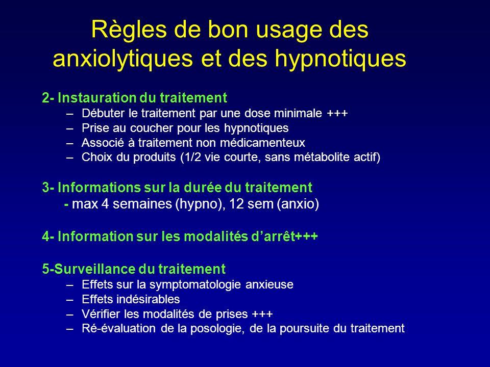 2- Instauration du traitement –Débuter le traitement par une dose minimale +++ –Prise au coucher pour les hypnotiques –Associé à traitement non médica