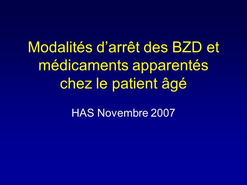 Modalités darrêt des BZD et médicaments apparentés chez le patient âgé HAS Novembre 2007