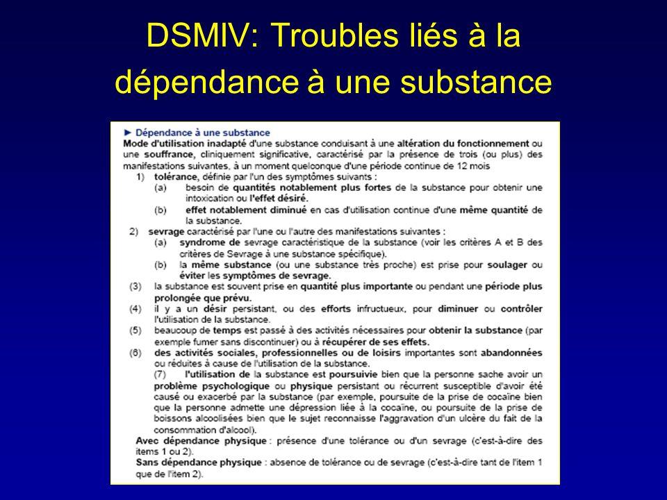DSMIV: Troubles liés à la dépendance à une substance