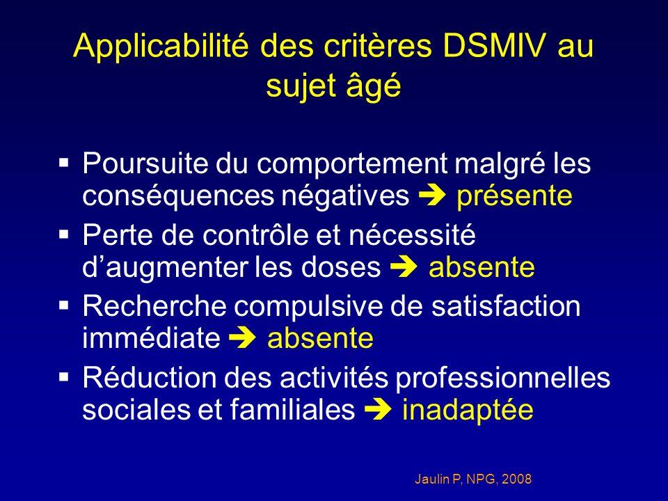 Applicabilité des critères DSMIV au sujet âgé Poursuite du comportement malgré les conséquences négatives présente Perte de contrôle et nécessité daug