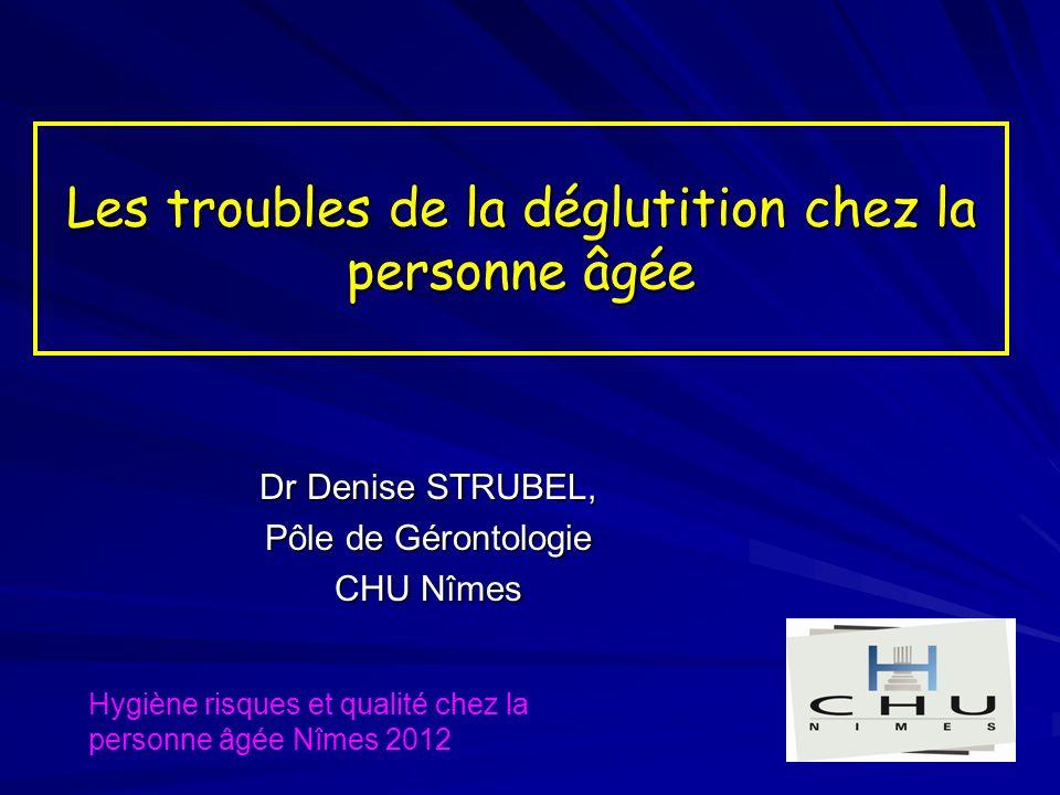 Les troubles de la déglutition chez la personne âgée Dr Denise STRUBEL, Pôle de Gérontologie CHU Nîmes Hygiène risques et qualité chez la personne âgée Nîmes 2012
