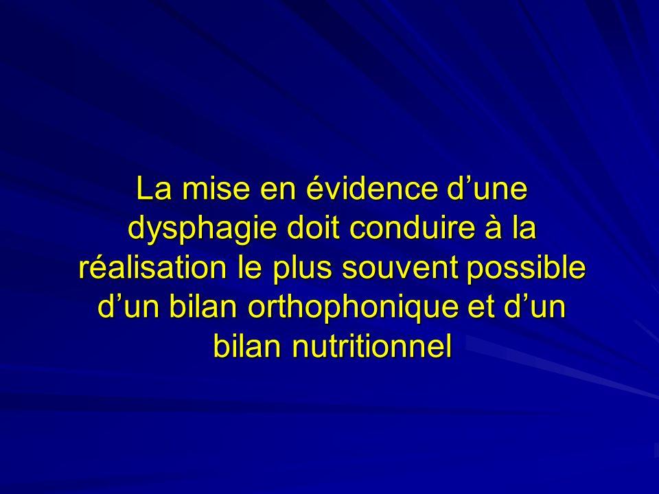 La mise en évidence dune dysphagie doit conduire à la réalisation le plus souvent possible dun bilan orthophonique et dun bilan nutritionnel