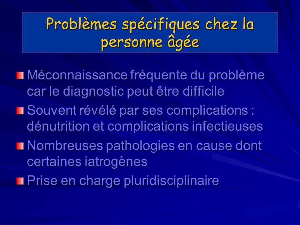 Problèmes spécifiques chez la personne âgée Méconnaissance fréquente du problème car le diagnostic peut être difficile Souvent révélé par ses complications : dénutrition et complications infectieuses Nombreuses pathologies en cause dont certaines iatrogènes Prise en charge pluridisciplinaire
