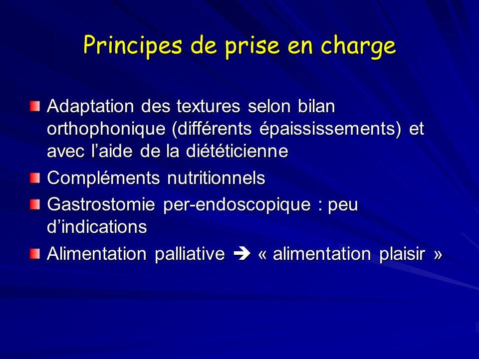 Principes de prise en charge Adaptation des textures selon bilan orthophonique (différents épaississements) et avec laide de la diététicienne Compléments nutritionnels Gastrostomie per-endoscopique : peu dindications Alimentation palliative « alimentation plaisir »