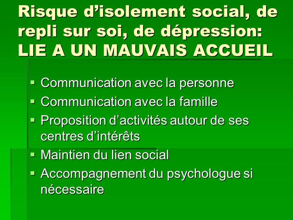 Risque disolement social, de repli sur soi, de dépression: LIE A UN MAUVAIS ACCUEIL Communication avec la personne Communication avec la personne Comm