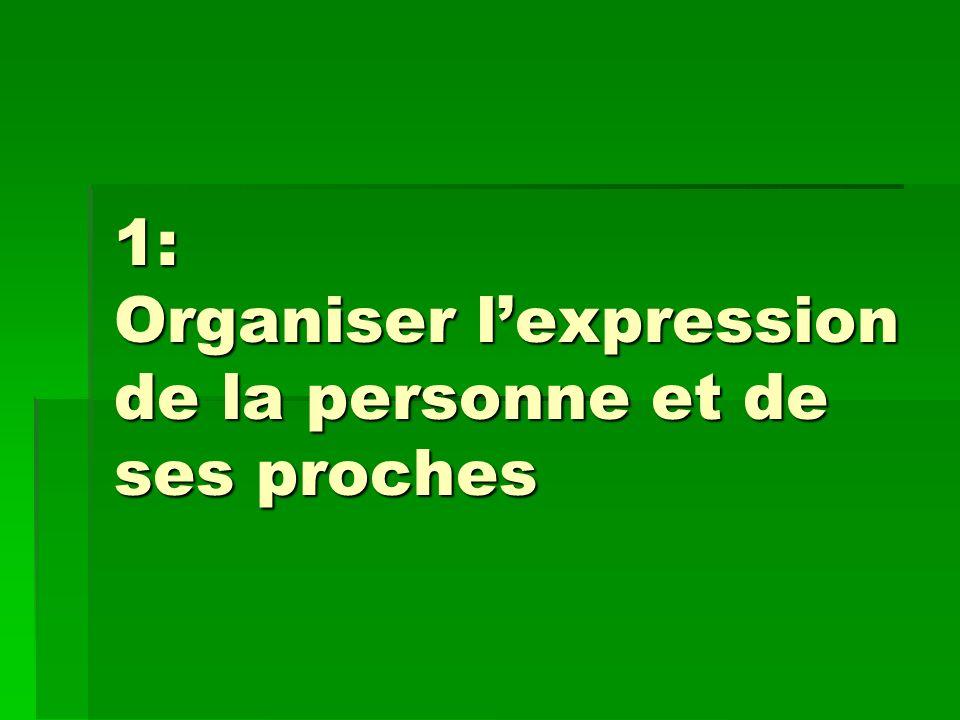 1: Organiser lexpression de la personne et de ses proches