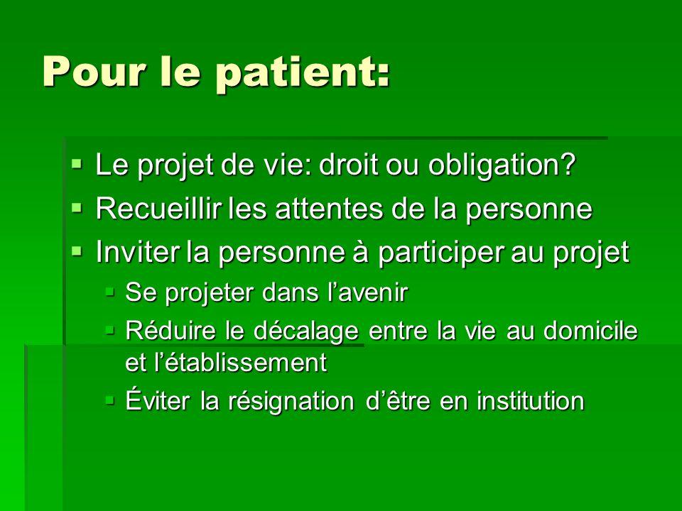 Pour le patient: Le projet de vie: droit ou obligation? Recueillir les attentes de la personne Inviter la personne à participer au projet Se projeter