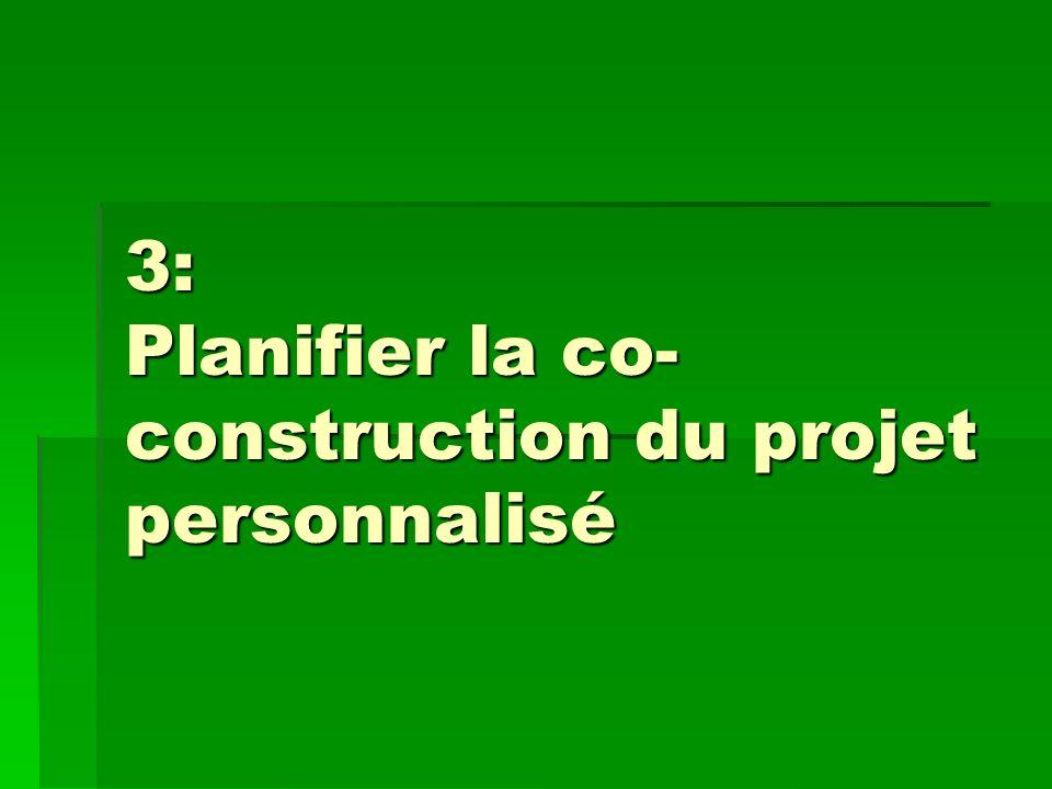 3: Planifier la co- construction du projet personnalisé