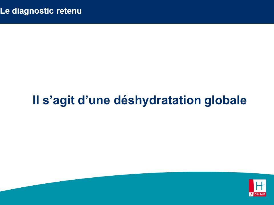 Le diagnostic retenu Il sagit dune déshydratation globale