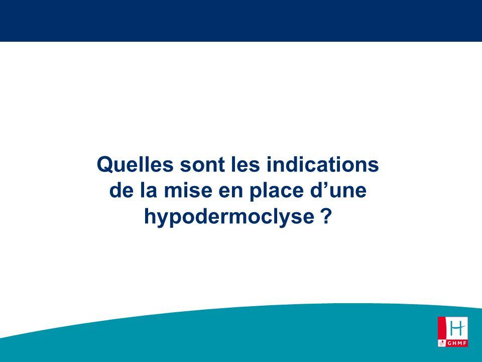 Quelles sont les indications de la mise en place dune hypodermoclyse ?