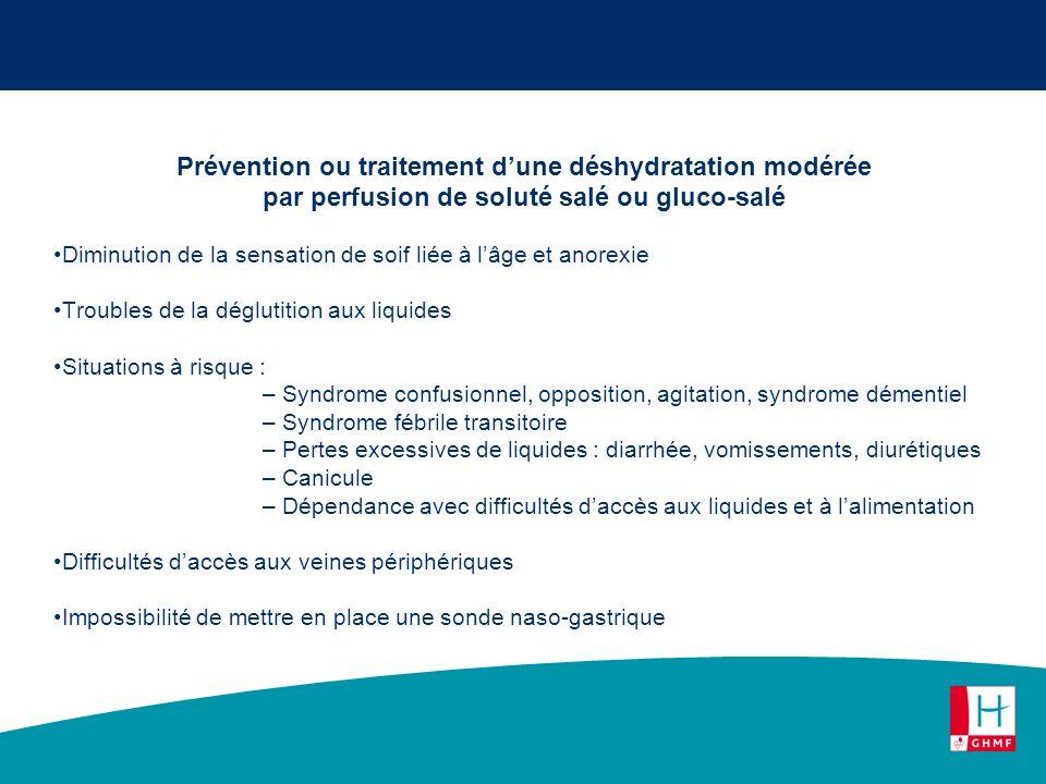 Prévention ou traitement dune déshydratation modérée par perfusion de soluté salé ou gluco-salé Diminution de la sensation de soif liée à lâge et anor