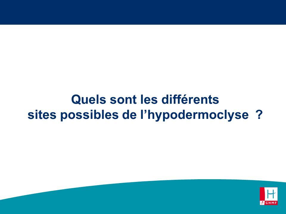 Quels sont les différents sites possibles de lhypodermoclyse ?