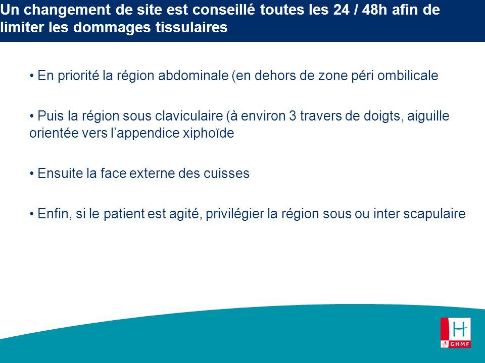 Un changement de site est conseillé toutes les 24 / 48h afin de limiter les dommages tissulaires En priorité la région abdominale (en dehors de zone p