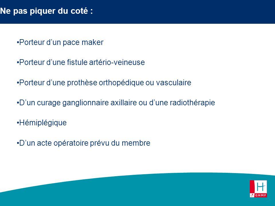 Ne pas piquer du coté : Porteur dun pace maker Porteur dune fistule artério-veineuse Porteur dune prothèse orthopédique ou vasculaire Dun curage gangl