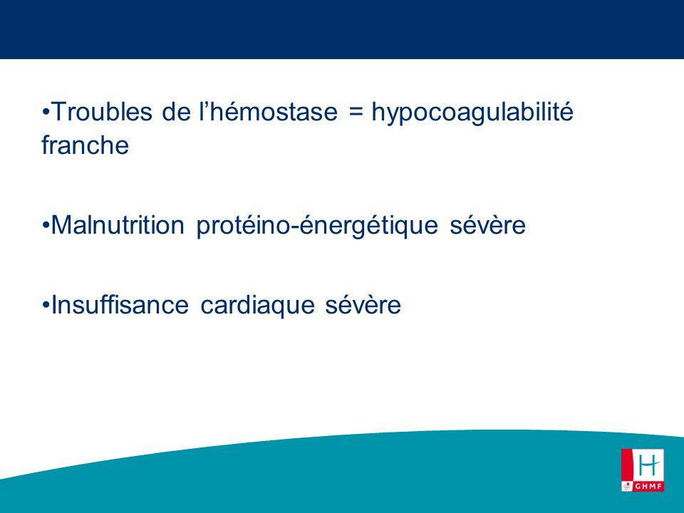 Troubles de lhémostase = hypocoagulabilité franche Malnutrition protéino-énergétique sévère Insuffisance cardiaque sévère