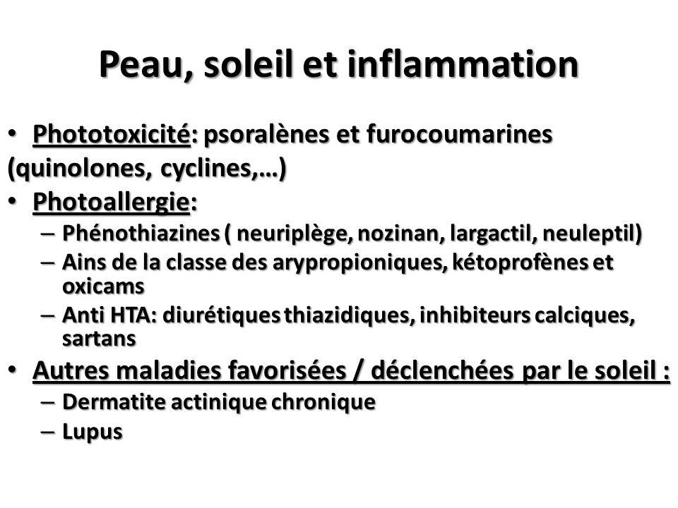 Phototoxicité: psoralènes et furocoumarines Phototoxicité: psoralènes et furocoumarines (quinolones, cyclines,…) Photoallergie: Photoallergie: – Phéno