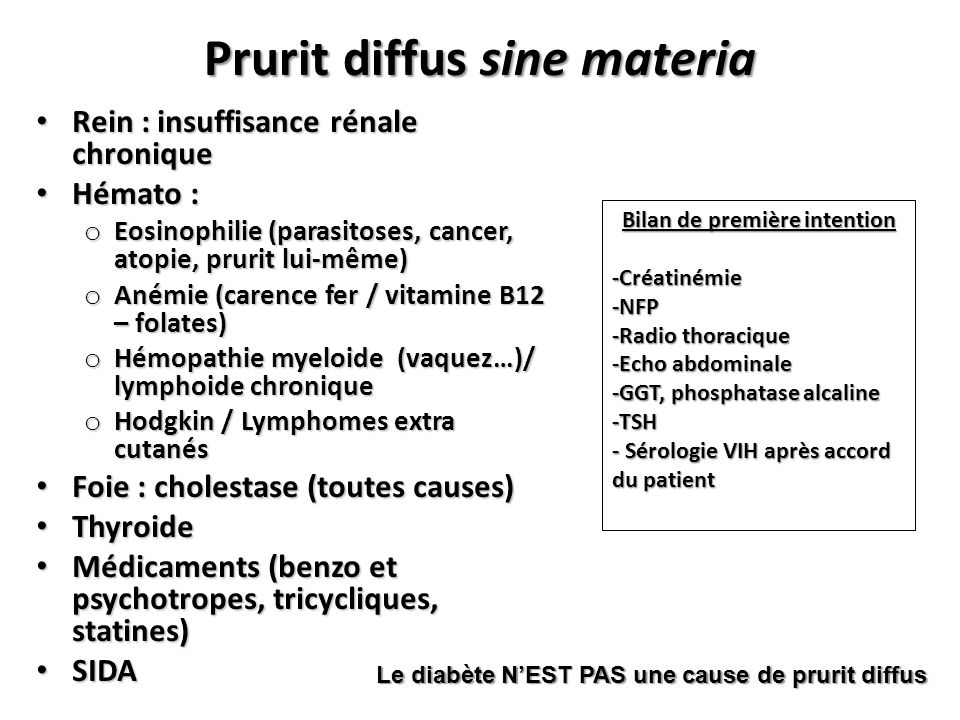Prurit diffus sine materia Rein : insuffisance rénale chronique Rein : insuffisance rénale chronique Hémato : Hémato : o Eosinophilie (parasitoses, ca