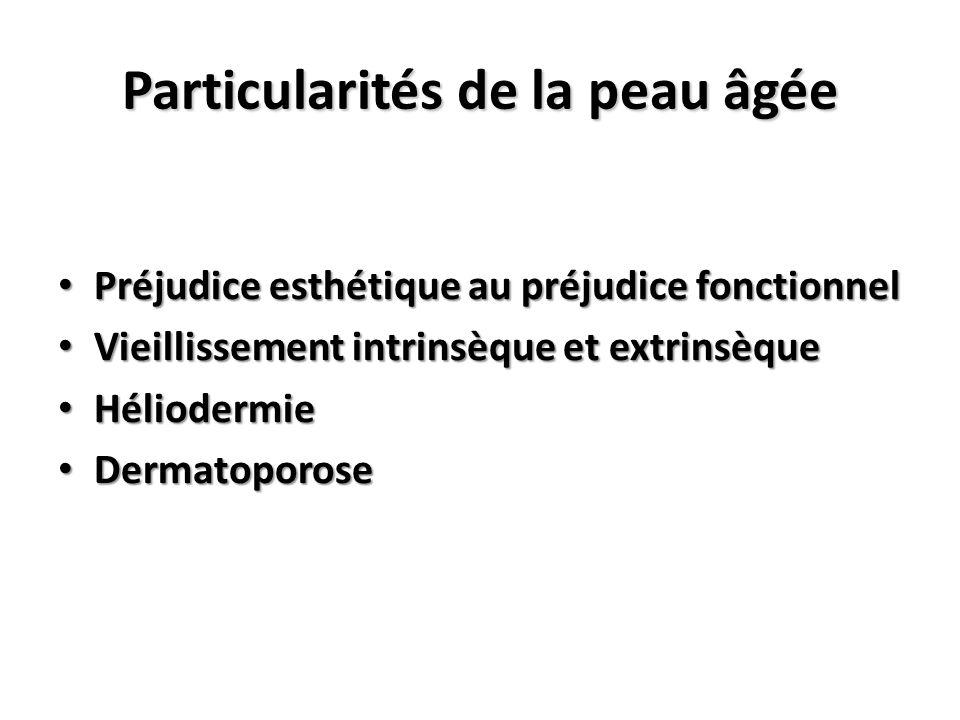 Particularités de la peau âgée Préjudice esthétique au préjudice fonctionnel Préjudice esthétique au préjudice fonctionnel Vieillissement intrinsèque