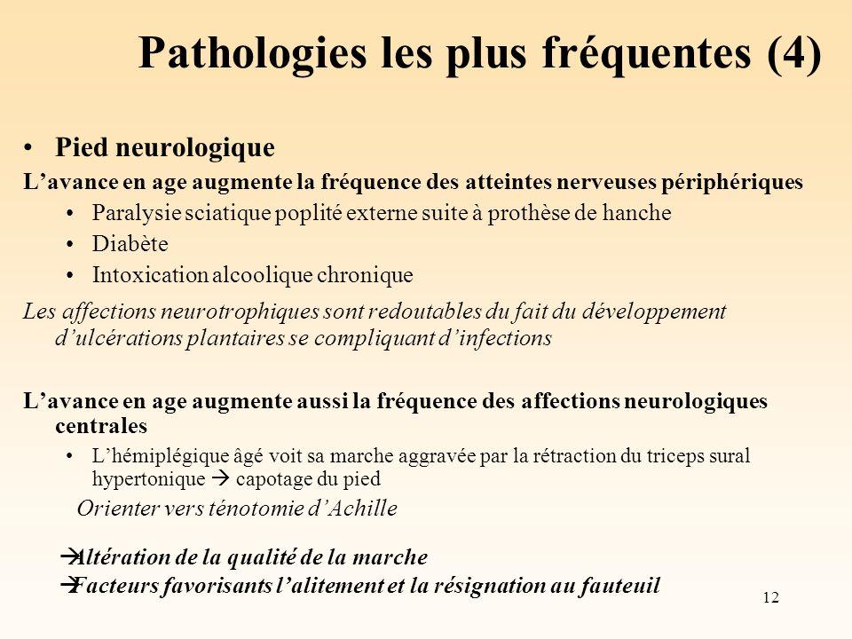 12 Pathologies les plus fréquentes (4) Pied neurologique Lavance en age augmente la fréquence des atteintes nerveuses périphériques Paralysie sciatiqu