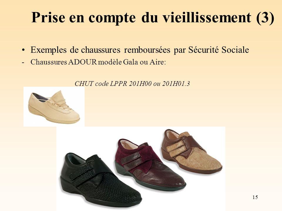 15 Prise en compte du vieillissement (3) Exemples de chaussures remboursées par Sécurité Sociale -Chaussures ADOUR modèle Gala ou Aire: CHUT code LPPR