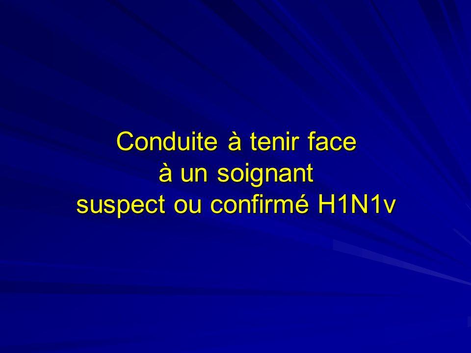 Conduite à tenir face à un soignant suspect ou confirmé H1N1v