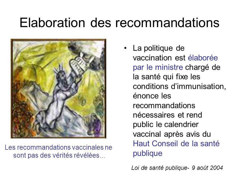 Elaboration des recommandations La politique de vaccination est élaborée par le ministre chargé de la santé qui fixe les conditions dimmunisation, énonce les recommandations nécessaires et rend public le calendrier vaccinal après avis du Haut Conseil de la santé publique Les recommandations vaccinales ne sont pas des vérités révélées … Loi de santé publique- 9 août 2004