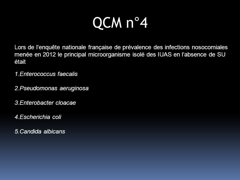 QCM n°4 Lors de lenquête nationale française de prévalence des infections nosocomiales menée en 2012 le principal microorganisme isolé des IUAS en labsence de SU était 1.Enterococcus faecalis 2.Pseudomonas aeruginosa 3.Enterobacter cloacae 4.Escherichia coli 5.Candida albicans