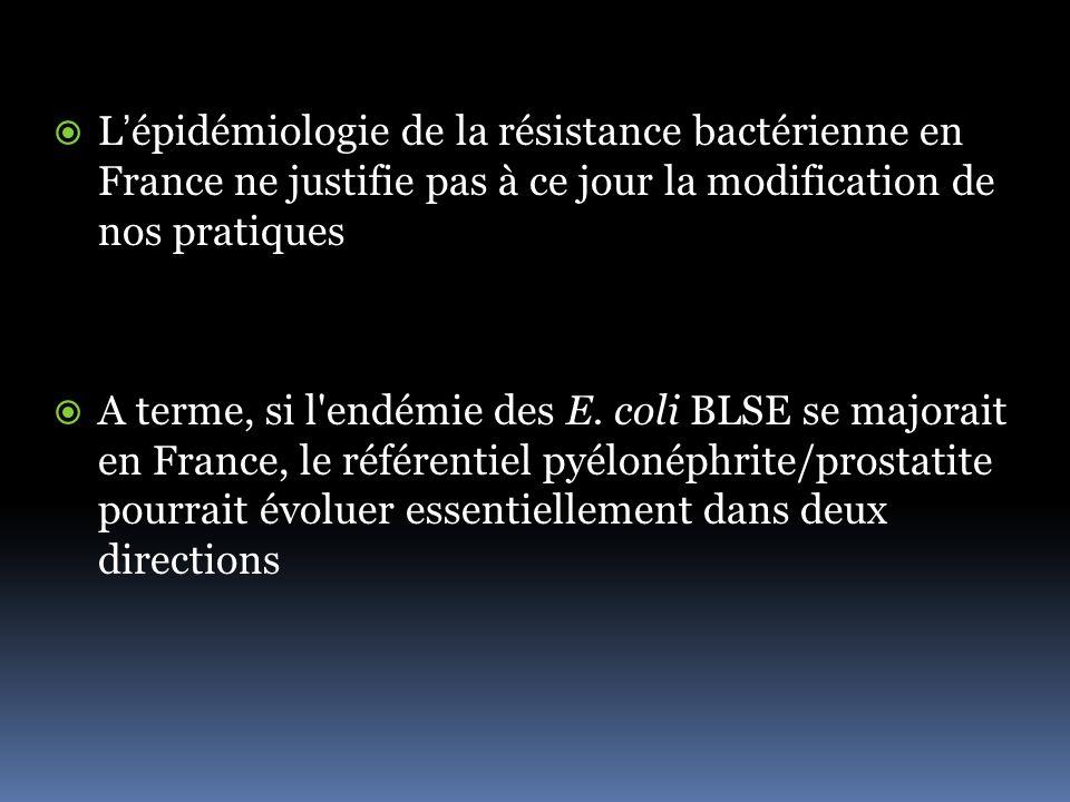 Lépidémiologie de la résistance bactérienne en France ne justifie pas à ce jour la modification de nos pratiques A terme, si l endémie des E.