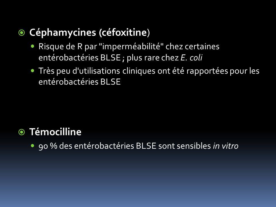 Céphamycines (céfoxitine) Risque de R par imperméabilité chez certaines entérobactéries BLSE ; plus rare chez E.
