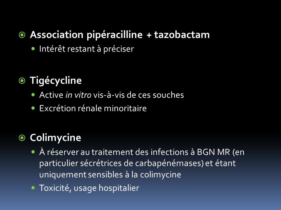 Association pipéracilline + tazobactam Intérêt restant à préciser Tigécycline Active in vitro vis-à-vis de ces souches Excrétion rénale minoritaire Colimycine À réserver au traitement des infections à BGN MR (en particulier sécrétrices de carbapénémases) et étant uniquement sensibles à la colimycine Toxicité, usage hospitalier