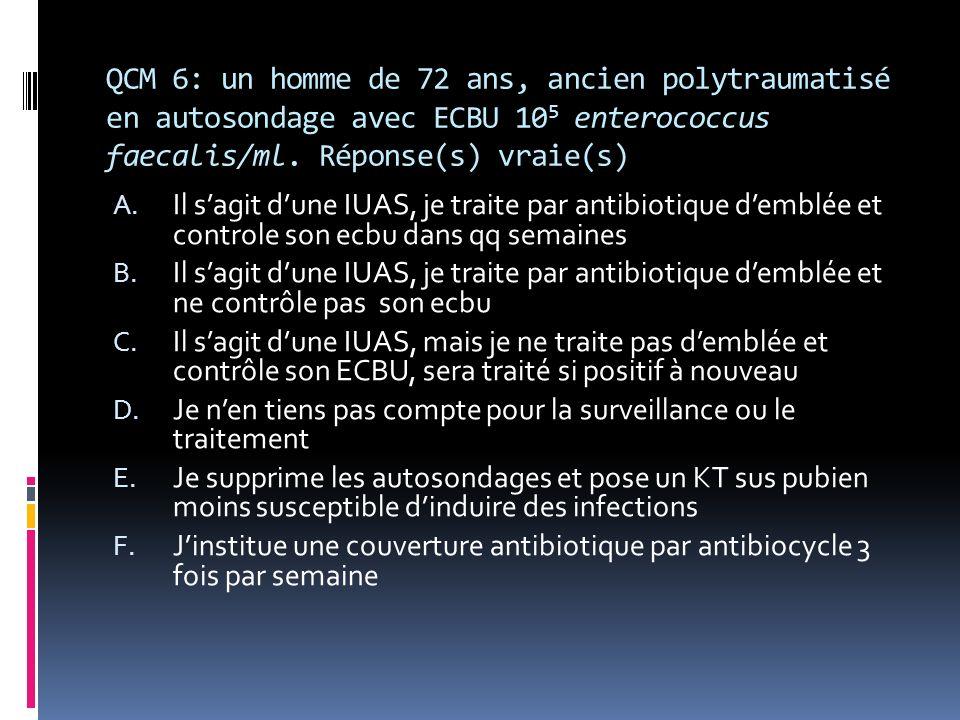 QCM 6: un homme de 72 ans, ancien polytraumatisé en autosondage avec ECBU 10 5 enterococcus faecalis/ml.