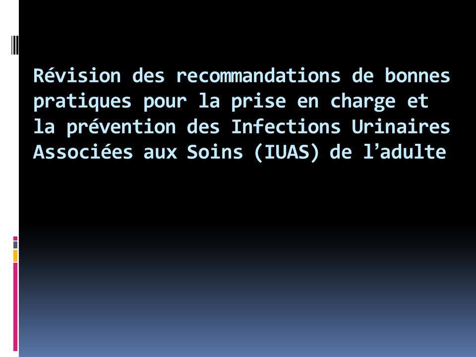 Révision des recommandations de bonnes pratiques pour la prise en charge et la prévention des Infections Urinaires Associées aux Soins (IUAS) de ladulte