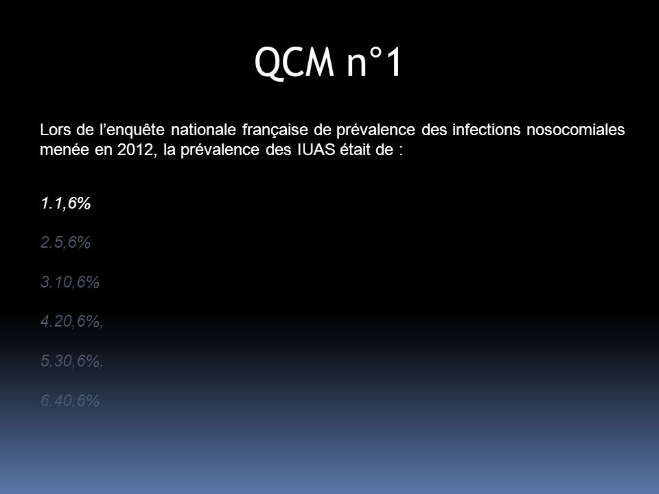 QCM n°1 Lors de lenquête nationale française de prévalence des infections nosocomiales menée en 2012, la prévalence des IUAS était de : 1.1,6% 2.5,6% 3.10,6% 4.20,6%, 5.30,6%, 6.40,6%
