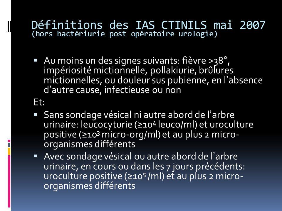 Définitions des IAS CTINILS mai 2007 (hors bactériurie post opératoire urologie) Au moins un des signes suivants: fièvre >38°, impériosité mictionnelle, pollakiurie, brûlures mictionnelles, ou douleur sus pubienne, en labsence dautre cause, infectieuse ou non Et: Sans sondage vésical ni autre abord de larbre urinaire: leucocyturie (10 4 leuco/ml) et uroculture positive (10 3 micro-org/ml) et au plus 2 micro- organismes différents Avec sondage vésical ou autre abord de larbre urinaire, en cours ou dans les 7 jours précédents: uroculture positive (10 5 /ml) et au plus 2 micro- organismes différents