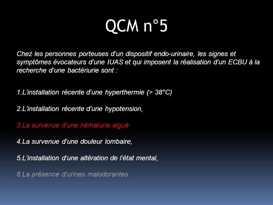 QCM n°5 Chez les personnes porteuses dun dispositif endo-urinaire, les signes et symptômes évocateurs dune IUAS et qui imposent la réalisation dun ECBU à la recherche dune bactériurie sont : 1.Linstallation récente dune hyperthermie (> 38°C) 2.Linstallation récente dune hypotension, 3.La survenue dune hématurie aiguë 4.La survenue dune douleur lombaire, 5.Linstallation dune altération de létat mental, 6.La présence durines malodorantes