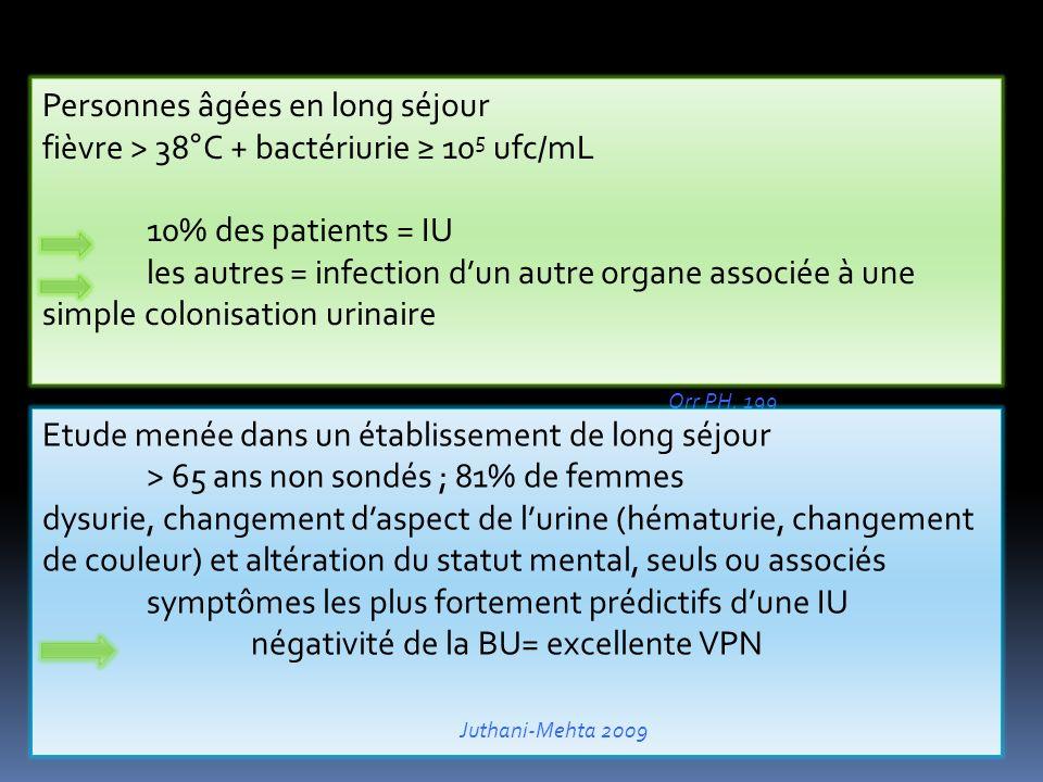 Personnes âgées en long séjour fièvre > 38°C + bactériurie 10 5 ufc/mL 10% des patients = IU les autres = infection dun autre organe associée à une simple colonisation urinaire Orr PH, 199 Etude menée dans un établissement de long séjour > 65 ans non sondés ; 81% de femmes dysurie, changement daspect de lurine (hématurie, changement de couleur) et altération du statut mental, seuls ou associés symptômes les plus fortement prédictifs dune IU négativité de la BU= excellente VPN Juthani-Mehta 2009