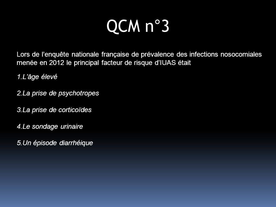QCM n°3 Lors de lenquête nationale française de prévalence des infections nosocomiales menée en 2012 le principal facteur de risque dIUAS était 1.Lâge élevé 2.La prise de psychotropes 3.La prise de corticoïdes 4.Le sondage urinaire 5.Un épisode diarrhéique