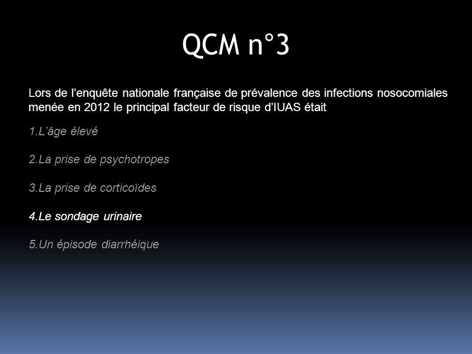 QCM n°8 Chez un patient avec dispositif endo-urinaire : 1- la leucocyturie nest pas prédictive de la présence ou non dune IU 2- Un seuil de bactériurie 10 5 ufc/mL est bien corrélé avec une symptomatologie cliniquement évocatrice dIU sur sonde 3- en présence dun contexte clinique évocateur, une bactériurie à 10 3 ou 10 4 ufc/mL peut correspondre à une infection débutante 4- en présence dun contexte clinique évocateur, une bactériurie à 10 3 ou 10 4 ufc/mL peut correspondre à une infection décapitée par une antibiothérapie 5- devant des symptômes évocateurs dinfection urinaire, une bactériurie entre 10 3 et 10 5 ufc/mL peut être contrôlée sur un nouveau prélèvement